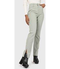 jeans missguided wrath split hem straight  verde - calce regular