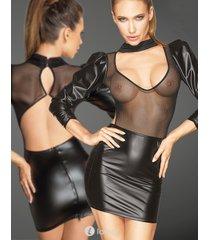 * noir handmade mini jurkje met tulle top en pofmouw