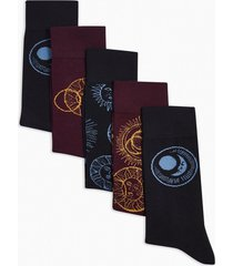mens black constellation socks 5 pack