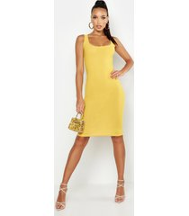 basic square neck bodycon midi dress, mustard