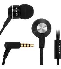 audífonos bluetooth, awei k90i auricular con estilo en el oído con micrófono 3.5mm auricular enchufe (negro)