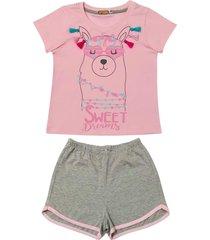 conjunto pijama de lhama douvelin rosa - cinza/rosa - menina - algodã£o - dafiti
