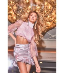organza puff sleeve crop top, blush