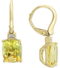 effy lemon quartz (5-1/3 ct. t.w.) & diamond (1/20 ct. t.w.) drop earrings in 14k gold