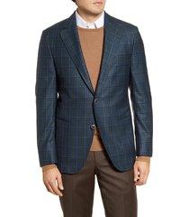 men's big & tall peter millar classic fit windowpane wool sport coat, size 52l - green