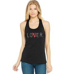 regata feminina algodã£o loser lover - preto - feminino - dafiti