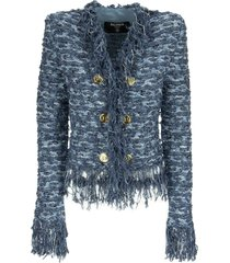 balmain tweed jacket with fringe and gold-tone double-breasted closure