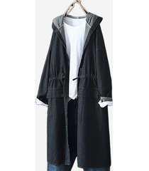 trench coat con cappuccio in denim tinta unita