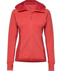 cecilie wool hood jkt hoodie trui rood bergans