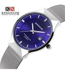 malla para hombres con calendario de reloj de cuarzo-azul