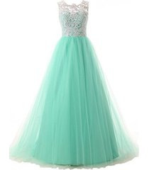 blevla a-line straps lace bodice prom dress long tulle formal gowns mint us 16