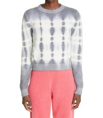 the elder statesman wire tie dye cashmere sweater, size x-small in ivory w light grey at nordstrom