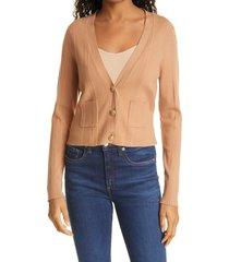 women's l'agence jamie crop cardigan, size x-large - beige