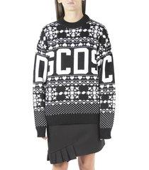 gcds black jacquard print sweater