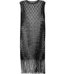issey miyake open-knit sleeveless dress - black