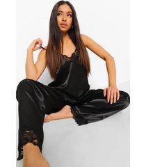 petite satijnen pyjama set met broek en kanten zoom, black