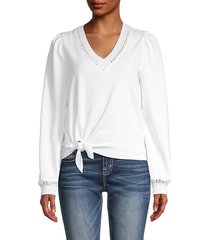 mikaela puff-shoulder tie-front pullover