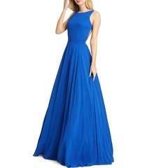 mac duggal women's plunge back ball gown - red - size 0