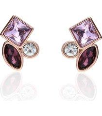 orecchini a lobo con pietre sui toni del viola in metallo rosato per donna