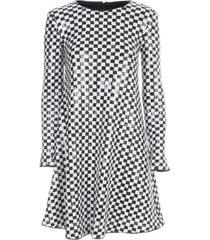 bicolour dress l/s w/paillettes emporio armani