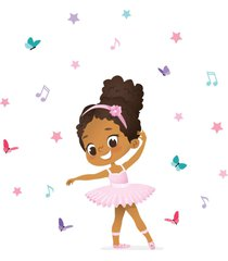 adesivo de parede bailarina negra para quarto de menina - rosa - menina - dafiti