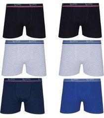 kit 6 cuecas boxer lupo algodão cotton masculina