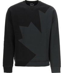 d2 leaf sweatshirt with back print dsquared2
