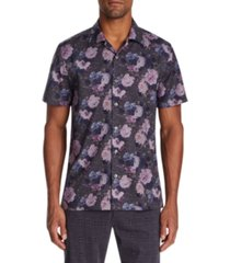tallia men's slim-fit performance stretch floral camp shirt