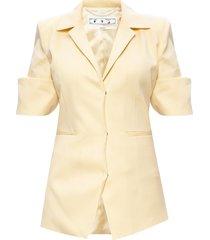 short-sleeved wool blazer