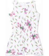 monnalisa white and pink cotton playsuit