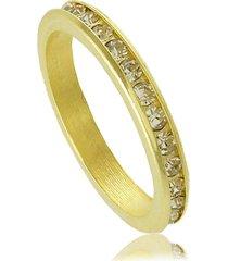 anel aliança com cristais brancos 3rs semijoias dourado