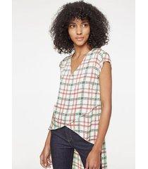 blusa manga corta cruzada, estampada a cuadros