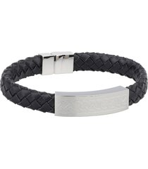 steel gents medium black leather bracelet