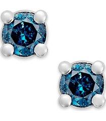 10k white gold blue diamond (1/10 ct. t.w.) round stud earrings