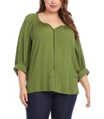 plus size women's karen kane blouson sleeve peasant blouse, size 3x - green