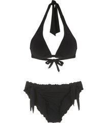 amir slama triangle two-piece bikini - black