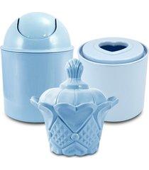 conjunto de cestos organizadores para banheiro jacki design lifestyle azul - azul - dafiti