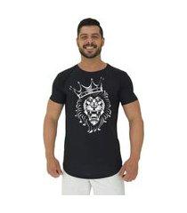 camiseta longline alto conceito king lion preto