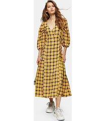 yellow check tie wrap midi dress - yellow