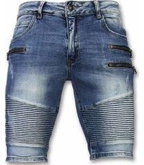 korte broek enos korte broek - korte broek slim fit biker zippers shorts -