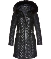 cappotto corto trapuntato in similpelle (nero) - bpc selection premium