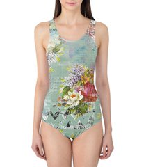 grunged florals on green women's swimsuit