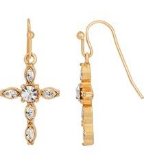 14k gold-dipped crystal cross drop earrings