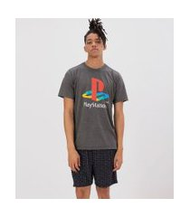 pijama curto com estampa playstation | playstation | cinza | gg