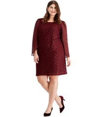 connected plus size jacquard tulip-sleeve dress