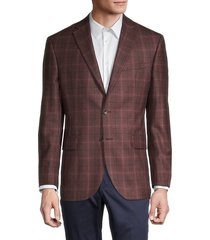saks fifth avenue men's conway standard-fit plaid wool jacket - brown - size 40 r