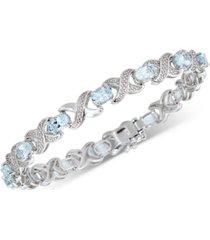 aquamarine (4 ct. t.w.) & diamond (1/20 ct. t.w.) link bracelet in sterling silver