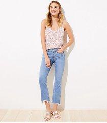 loft curvy destructed high waist slim pocket flare crop jeans in indigo wash