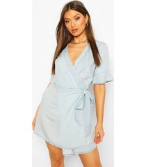 chambray tie wrap skater dress, light blue