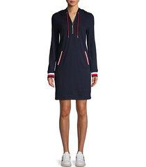 cotton-blend hooded dress